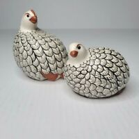Quail Pheasants Hand Painted Pottery Birds Black & White Set Pair 2 Mother Baby