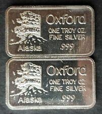 Two Oxford 1oz Silver Alaska Bars