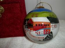 Covered Bridge Christmas Ornament Reverse Hand Painted Glass Ball. Nice.