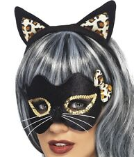 Halloween Fancy Dress Cat Masquerade Mask & Ears Set Midnight Kitty by Smiffys
