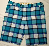 "Loudmouth Men's 40 Blue Green Plaid Golf Shorts Flat Front Pockets 11"" inseam"