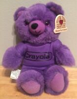 Crayola Bear Purple Vintage 1985 Crayola Binney & Smith Plush With Heartline Tag