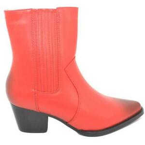 Stivaletto donna rosso texano Camperos basso a punta con tacco western 3 cm con