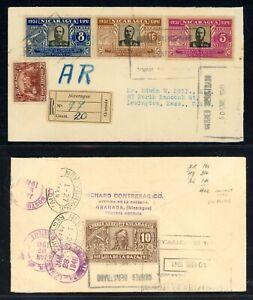 Nicaragua 75th Ann Postal History: LOT #20 1941 REG AR GRANADA - LEXINGTON $$$
