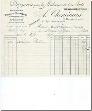 FACTURE - A Cheminant droguerie pour la medecine Herboristerie à Nancy 1907