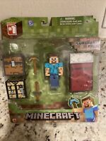 """1-MINECRAFT Survival Pack  """"STEVE"""" Package Is Coming Loose But Toy is fine."""