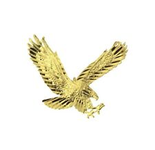 14K Solid Real Yellow Gold Diamond Cut Small Flying American Eagle Charm Pendant