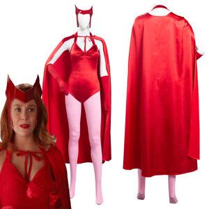 Wanda Vision Scarlet Witch Wanda Maximoff Cosplay Costume Jumpsuit Cloak