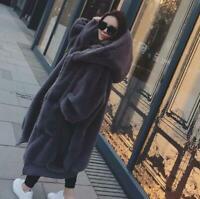 Womens Faux Rabbit Fur Jacket Winter Hooded Thicken Coat Long Jacket Parkas