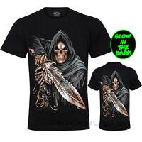 New Men Gothic T-Shirt(GRIM REAPER WITH SWORD) Glow In Dark Print Front & Back