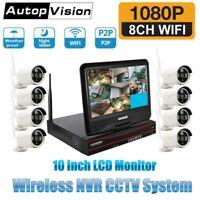 "10"" Wireless Monitor 4CH 8CH CCTV DVR Kit WIFI iP Camera NVR Security System Lot"