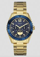 Guess Watch * U0565L4 Oversize Multifunction Blue & Gold Steel COD PayPal