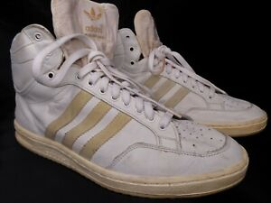 VTG ADIDAS LEATHER HIGHTOP SNEAKERS WHITE 11M MADE IN FRANCE
