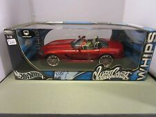 HOT WHEELS 1/18 WEST COAST CUSTOMS WHIPS CANDY RED DODGE VIPER VERY COOL