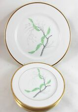 7 PLATES SERVING SET VINTAGE THOMAS CHINA GERMANY 7406 GOLD GREEN LEAVES BERRIES