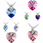 Hot Fashion Women Girl Heart Pendant Silver Plated Crystal Long Chain Necklace