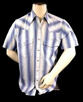 Outlaw Western Wear Men's Shirt Size M Pearl Snaps Short Sleeve Blue & White