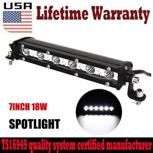 SLIM 7 INCH 18W LED WORK LIGHT BAR SINGLE ROW DRIVING LAMP for UTE ATV SUV JEEP