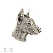 Doberman head, silver covered pin, high quality Art Dog Usa