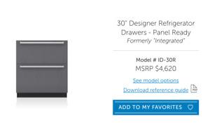 Sub Zero, 30 inch wide undercounter Refrigerator Drawers, panel ready BRAND NEW
