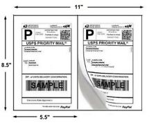 22 Shipping Labels 8.5x5.5 White Half-Sheet Self-Adhesive CanadaPost Paypal USPS