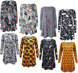 Womens Ladies Long Sleeve HALLOWEEN Print SWING DRESS LEGGINGS Costume Lot D1