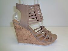Dolce Vita Size 10 M TILA Taupe Nubuck Leather Wedge Sandals New Womens Shoes