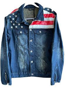 Dsquared2 Denim Trucker Jacket Leather American Flag Measurements Listed Below