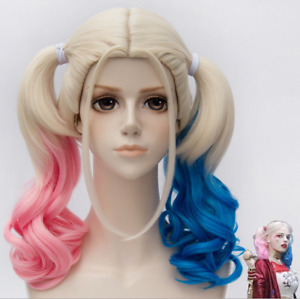 Movie Harley Quinn Wigs Suicide Squad Pigtails Cosplay Halloween Fancy Dress UK