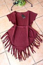 BORIS INDUSTRIES Manches Courtes Shirt franges 46 48 (4) NEUF superposé BORDEAUX longueurs