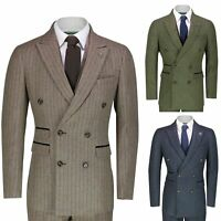 Mens 3 Piece Double Breasted Suit Tailor Fit Pinstripe Jacket Waistcoat Trouser