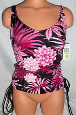 45b92a28647b4 Roxanne Bra Sized Black Pink Tropical Floral Tankini Top Womens Size 10/32B  NWT