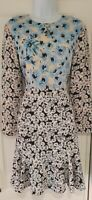 Womens Warehouse White Blue Floral Frill Hem Long Sleeve Tea Dress 10 New.