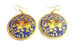 Ethnic purple brass elephant earrings, Fair Trade, handmade, Bohemian, boho