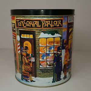 """2001 Hal Kattau Small Town Shops Street with People & Shops 7.5"""" Collector's Tin"""
