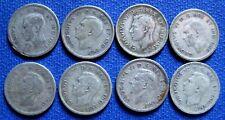 1940 - 1947  GEORGE VI Canada 10  CENT Silver  COINS KM# 34 ALL SET