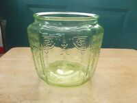 Anchor Hocking Green Vaseline Depression Glass Cookie or Biscuit Jar Base