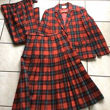 Pendleton Lennox Tartan Red Plaid Wool 3 Piece Suit Skirt Pants Jacket Large VTG