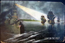 WORCESTER MA~1909 BATTLE SHIP SHINING LIGHT ON SAIL SHIPS ~ LIGHT ON THE PAST