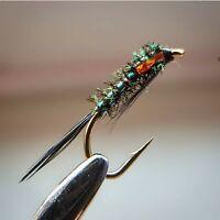 Orange Holo Diawl Bach size 14 (Set of 3) Fly Fishing Straight DB
