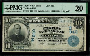 1902 $10 National - Troy, New York - Date Back - FR.616 Charter 940 - PMG 20