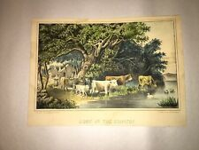 Original Currier & Ives Type Print Home In The Country By Haskell And Allen Cows