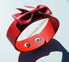 Bracelet Ceinture Simili Cuir Rouge Noeud Papillon Mode