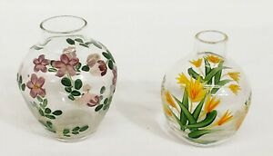 TWO'S COMPANY Hand Painted Glass Flower Vases - Set of 2