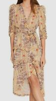 $849 ba&sh Women's Beige V-Neck Ruffle Floral Metallic Midi A-Line Satin Dress S
