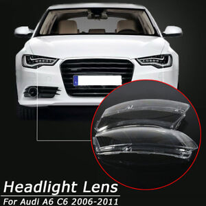 Left+Right Headlight Lens Lampshade PC Shell Cover Replace For Audi A6 C6 06-11
