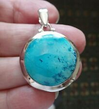 Sterling Silver and Blue Chrysocolla Pendant 11.0g FAST POST