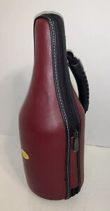 Caddy O Wine Bottle Carrier Red Leather Insulated Cooler Shoulder Strap & Tools