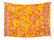Sarong / Pareo / Strandtuch - Rot Gelb Batik mit Sonne Motiv