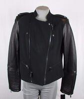BCBG Maxazria Women Ava Black S M L Faux Leather Moto Jacket MSRP $298 X285